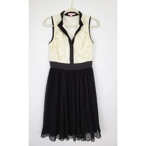 Ted Baker Black Cream Lace Bodice Pleated Dress 4